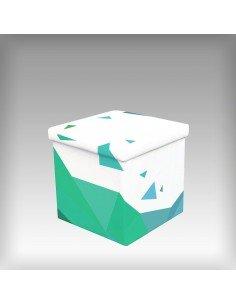 Cube pliable avec couvercle et rangement