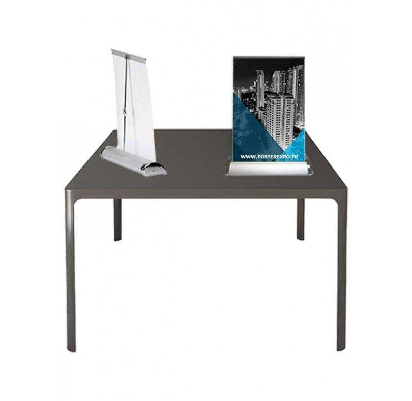 Photo de 2 mini roll up posez sur une table. Disponible en A4 et A3.